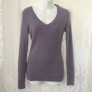 Ann Taylor V Neck Rabbit Hair Cable Knit Sweater